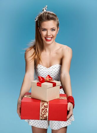 hair wrapped up: Happy woman make a present Stock Photo