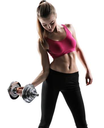 photo set of sporty muscular female brunette girl wearing sports clothes working out with dumbbells over white background