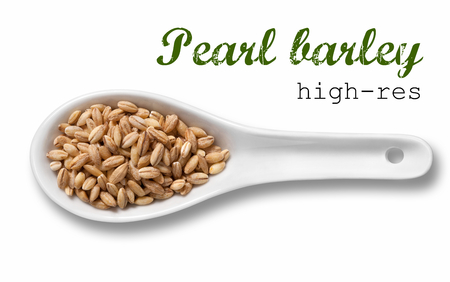 pearl barley: Pearl barley in white porcelain spoon  high resolution product photography of seed in white porcelain spoon over white background with place for your text