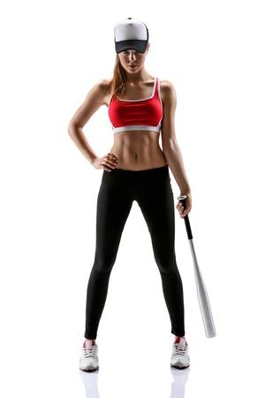 흰색 배경 위에 스포츠 옷을 입고 스포티 한 근육 여성 갈색 머리 여자의 야구 소녀 훈련 사진 세트