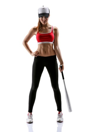 baseball caps: Baseball girl training  photo set of sporty muscular female brunette girl wearing sports clothes over white background