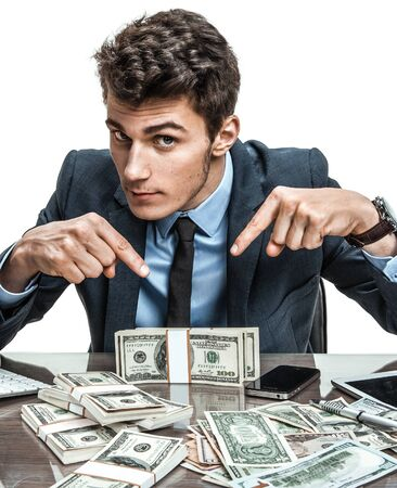 wealth concept: Employer showing his motivation earnings profit income earnings gain benefit margin