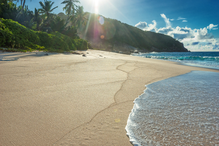 Hot sandy beach at summer sunny day outdoors photography of picturesque Seychelle islands