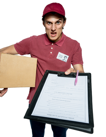 requires: Unkind courier delivering parcel and requires subscribe isolated on white background