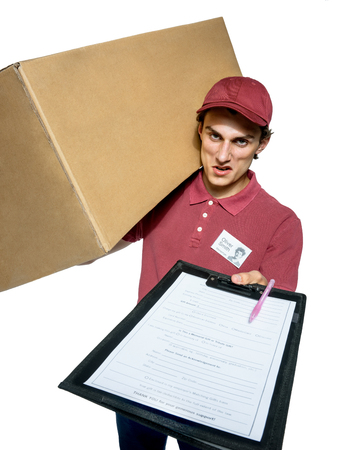 unkind: Unkind courier delivering parcel and requires subscribe isolated on white background