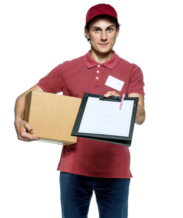courier: Smiling delivery man holding a paper box and requests to subscribe courier on white background.