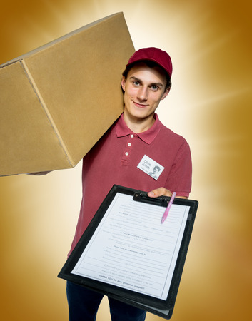box: Smiling delivery man holding a paper box and requests to subscribe courier on golden background.