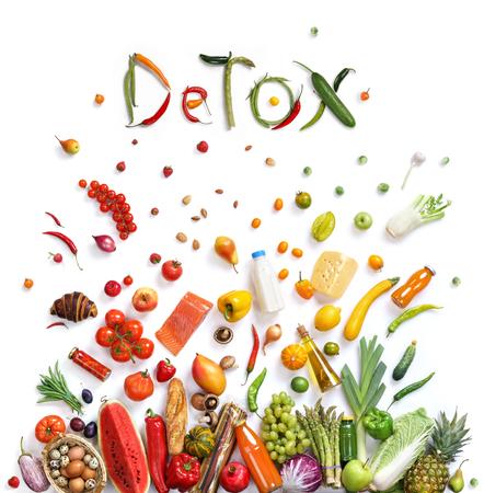 thực phẩm: Detox, lựa chọn thực phẩm biểu tượng thực phẩm lành mạnh thể hiện bằng các loại thực phẩm nổ để hiển thị các khái niệm sức khỏe của việc ăn tốt với các loại trái cây và rau quả