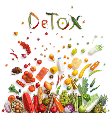 Detox, food choice healthy food symbol represented by foods explosion to show the health concept of eating well with fruits and vegetables Stockfoto