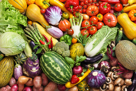 food photography: Healthy eating background food photography of the variety of vegetables at the market Stock Photo