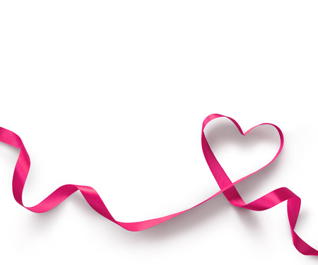 curved ribbon: Pink Ribbon Heart on white background