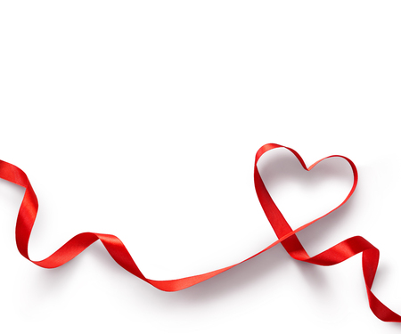Red Ribbon Heart on white background Stok Fotoğraf
