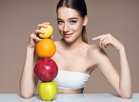 Lovely girl with mix fruits