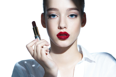 countenance: Charming young babe with lipstick photoset of attractive brunette girl on white background