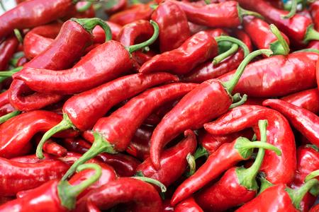 beauteous: Red hot pepper, organic capsicum, close-up. Selective focus.