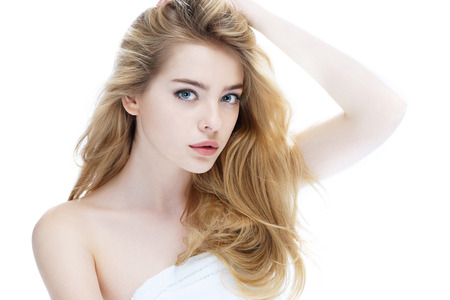 Beautiful girl with beautiful makeup, youth and skin care concept, photo of attractive blonde girl on white background Stock Photo