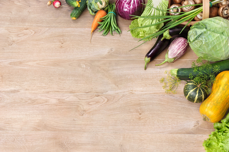 text space: Organic foods background. Space for your text, high-res product, studio photography of different vegetables on old wooden table. high resolution product