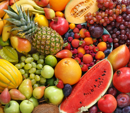 super fruit: Superfood background. Only Fruit, food photography of ripe fruits at the market