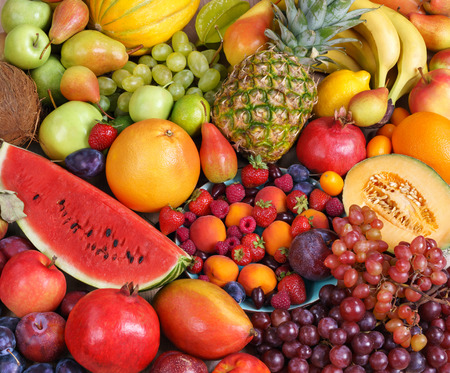 Superfood background. Only Fruit, food photography of ripe fruits at the market Banco de Imagens - 52848971