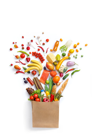 Healthy eating background, studio photography of different fruits and vegetables on white backdrop. Healthy food background, top view. High resolution product, Standard-Bild