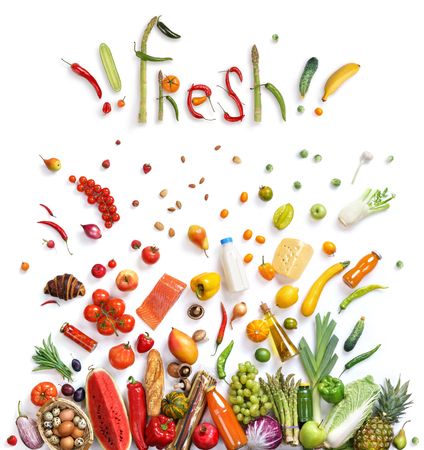 comida: escolha de alimentos orgânicos, símbolo alimento saudável representada por alimentos explosão para mostrar o conceito de saúde de comer bem com frutas e legumes. Fundo saudável do alimento, vista de cima. produto de alta resolução, Banco de Imagens