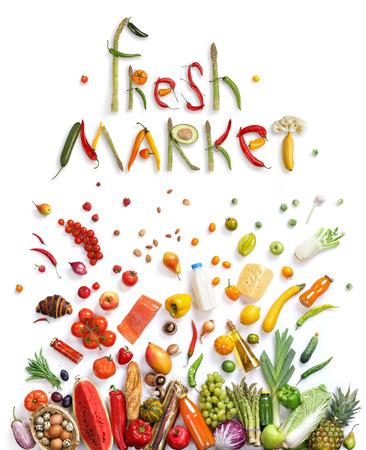 新鮮な市場。果物と野菜を食べることの健康概念を表示する食品爆発で表される健康食品記号