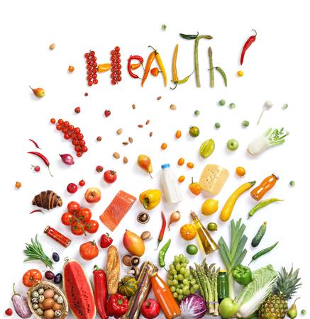 健康!食品の背景、白い背景に、トップ ビューで異なる果物と野菜 isoleted のスタジオ撮影。高解像度の製品です。