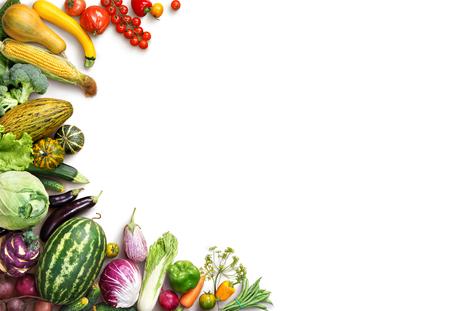 건강 한 먹는 배경. 음식 사진 다른 과일과 야채 격리 된 흰색 배경 사진. 공간을 복사합니다. 고해상도 제품