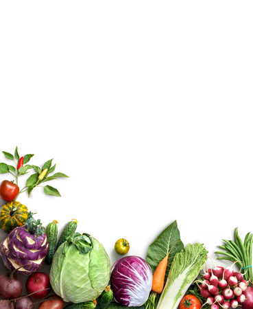 Organic food background. Food photography different fruits and vegetables isolated white background. Copy space. High resolution product Stock Photo