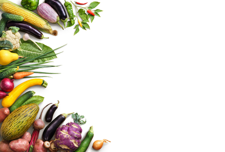 Organic food background. Food photography different fruits and vegetables isolated white background. Copy space. High resolution product Standard-Bild