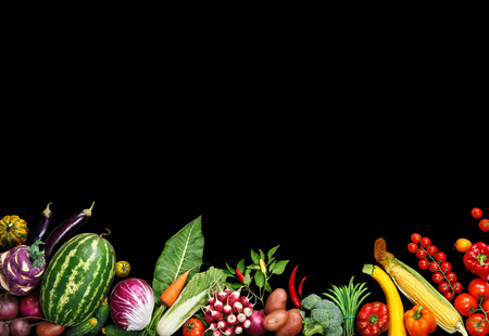 food photography: Deluxe food background. Food photography different fruits and vegetables isolated black background. Copy space. High resolution product