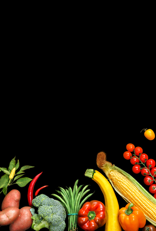 deluxe: Deluxe Organic food background. Food photography different fruits and vegetables isolated black background. Copy space. High resolution product
