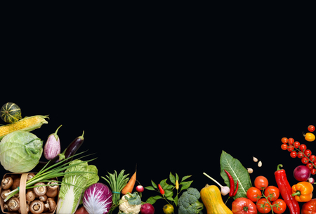 deluxe: Deluxe food background. Food photography different fruits and vegetables isolated black background. Copy space. High resolution product