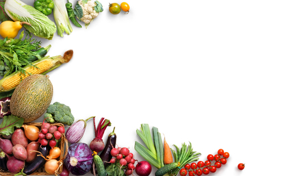 Organic food background. Food photography different fruits and vegetables isolated white background. Copy space. High resolution product Archivio Fotografico