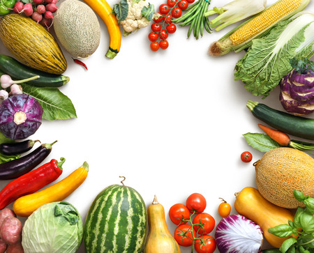 copy: Organic food background. Food photography different fruits and vegetables isolated white background. Copy space. High resolution product Stock Photo