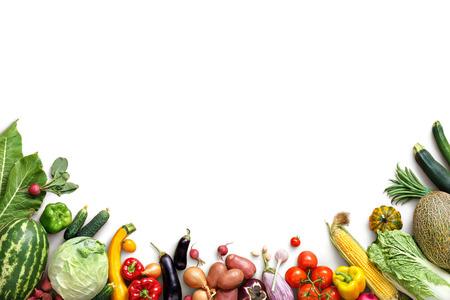 健康的な食事の背景。食品写真さまざまな果物や野菜は、白い背景を分離しました。領域をコピーします。高解像度の製品