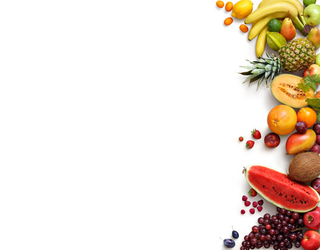 Healthy fruits background. Studio photo of different fruits isolated white background. High resolution product. Copy space Stock Photo - 54088764