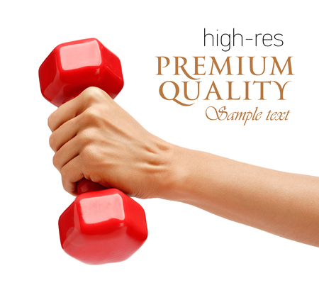dumbbell: Womans hand holding dumbbell isolated on white background. Close up, concept of healthy lifestyle