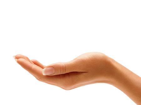 女性の手に署名の分離の白い背景。手のひらをクローズ アップ。