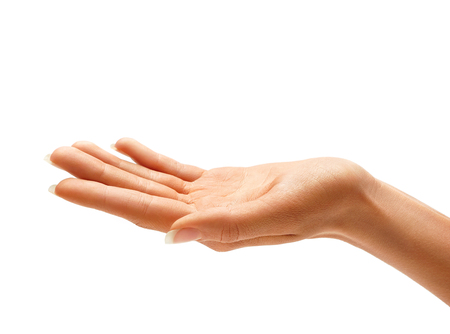 흰색 배경에 고립 된 여자의 손 기호입니다. 위로 손바닥, 최대 닫습니다. 스톡 콘텐츠