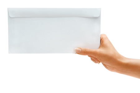 repayment: Hand holding White blank envelope, mock up. High resolution product