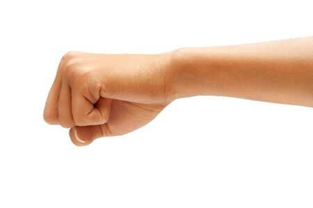 aggression: Hand with clenched a fist, isolated on white background,  Riot protest concept. High resolution product. Close up Stock Photo