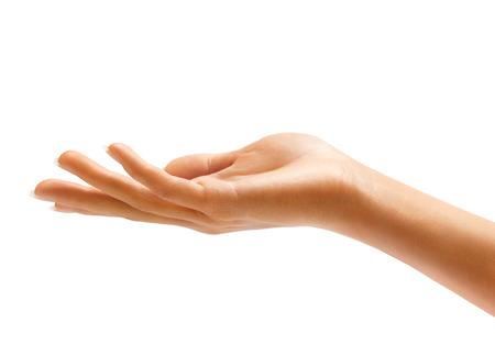Vrouw de hand teken geïsoleerd op een witte achtergrond. Palm up, close-up.