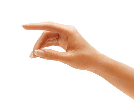 hand pointing: Womans hand touching or pointing to something isolated on white background. Close up