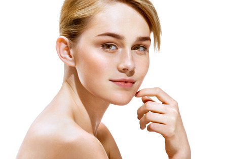 Nice blonde woman with make up, isolated on white background. Youth and skin care concept