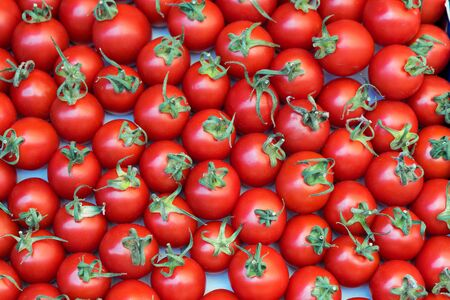 deluxe: Deluxe Cherry tomatoes. Close up, Top view, High resolution product. Stock Photo