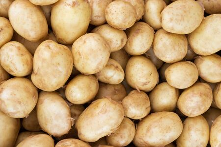 close up view: Raw baby potatoes. Close up, Top view, High resolution product.