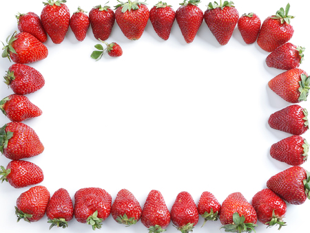 valuable: Frame of strawberry isolated on white background. Top view, High resolution product. Stock Photo