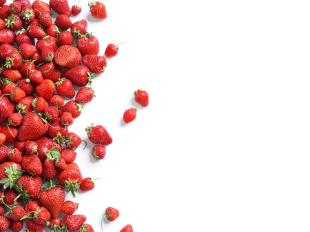 Healthy strawberry isolated on white background. Copy space. Top view, High resolution product. Archivio Fotografico