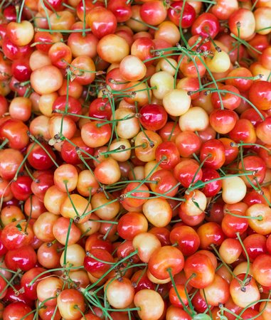 close up view: Background from freshly harvested cherry. Close up, top view, high resolution product. Stock Photo